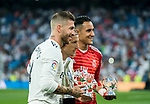 Sergio Ramos (L), Luka Modric (C) and Keylor Navas of Real Madrid show their UEFA awards prior to the La Liga 2018-19 match between Real Madrid and CD Leganes at Estadio Santiago Bernabeu on September 01 2018 in Madrid, Spain. Photo by Diego Souto / Power Sport Images