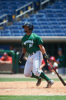 Daytona Tortugas left fielder Angelo Gumbs (21) bats during a game against the Clearwater Threshers on April 20, 2016 at Bright House Field in Clearwater, Florida.  Clearwater defeated Daytona 4-2.  (Mike Janes/Four Seam Images)