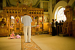 Mr. Juriga prays in the Orthodox church in Vilemov, Czech Republic. Mr. Juriga was an outspoken anti-communist in his youth (he learned English from textbooks to escape communism) Mr. Juriga's faith led him to join the Orthodox church and to study theology at a time when anti-communists were prohibited from studying. His vision to create a renewable energy future for the church and community of Vilemov was realised through the support of the church. Mr. Juriga is currently the director of the Orthodox Academy, an institute that helps educate school kids about clean energy in Czech Republic. The Academy runs solar, wind and hydro installations and is supported by the revenue generated from the wind energy. He strongly believes that community involvement and small-scale energy production is essential to the development of a post carbon world. Unfortunately, the system in the Czech Republic and Slovakia is heavily tilted in favour of large energy producers. The process is buried in bureaucracy and controlled by industry heavy weights, meaning it is tough for independent producers or communities to raise the funds and/or complete the process.