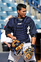 Feb 23, 2010; Tampa, FL, USA; New York Yankees catcher Jose Gil (99) during  team workout at George M. Steinbrenner Field. Mandatory Credit: Tomasso De Rosa