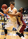 BROOKINGS, SD - FEBRUARY 27:  Jordan Dykstra #42 from South Dakota State tries to back down Jalen Love #3 from Denver University in the first half of their game Thursday night at Frost Arena in Brookings. (Photo by Dave Eggen/Inertia)