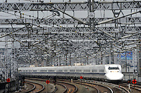 A Shinkansen train in Hamamatsu city, Shizuoka Prefecture , Thursday 4th June,  Japan. <br />