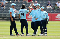 Shane Snater of Essex celebrates with his team mates after taking the wicket of George Scott during Gloucestershire vs Essex Eagles, Royal London One-Day Cup Cricket at the Bristol County Ground on 3rd August 2021