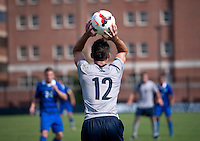 Keegan Rosenberry (12) of Georgetown throws the ball into play at Shaw Field in Washington, DC.  Georgetown defeated Seton Hall, 8-0.