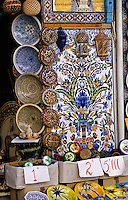 Ceramics, Nabeul, Tunisia.  Plates, Bowls, and Tile Wall Panels on Sale.