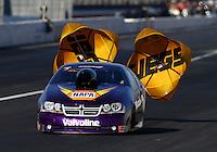 Nov 8, 2013; Pomona, CA, USA; NHRA pro stock driver Vincent Nobile during qualifying for the Auto Club Finals at Auto Club Raceway at Pomona. Mandatory Credit: Mark J. Rebilas-