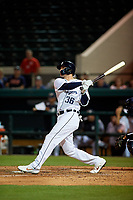 Lakeland Flying Tigers center fielder JaCoby Jones (36), on rehab assignment from the Detroit Tigers, hits a double in the bottom of the third inning during a Florida State League game against the Tampa Tarpons on April 5, 2019 at Publix Field at Joker Marchant Stadium in Lakeland, Florida.  Lakeland defeated Tampa 5-3.  (Mike Janes/Four Seam Images)