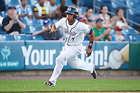 Syracuse Chiefs catcher Pedro Severino (4) running the bases during a game against the Louisville Bats on June 6, 2016 at NBT Bank Stadium in Syracuse, New York.  Syracuse defeated Louisville 3-1.  (Mike Janes/Four Seam Images)