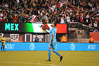 EAST RUTHERFORD, NJ - SEPTEMBER 6: Jonathan Orozco #1 of Mexico celebrates Javier Hernandez #14 of Mexico score during a game between Mexico and USMNT at MetLife Stadium on September 6, 2019 in East Rutherford, New Jersey.