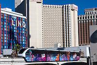 Las Vegas, Nevada.  Monorail Passing through a Station.