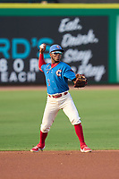 Clearwater Threshers shortstop Luis García (5) throws to first base during a game against the Lakeland Flying Tigers on May 5, 2021 at BayCare Ballpark in Clearwater, Florida.  (Mike Janes/Four Seam Images)