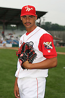 July 4th 2008:  Pitcher Riquy Pena (18) of the Williamsport Crosscutters, Class-A affiliate of the Philadelphia Phillies, during a game at Bowman Field in Williamsport, PA.  Photo by:  Mike Janes/Four Seam Images