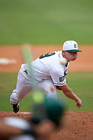 Dartmouth Big Green relief pitcher Patrick Peterson (8) delivers a pitch during a game against the South Florida Bulls on March 27, 2016 at USF Baseball Stadium in Tampa, Florida.  South Florida defeated Dartmouth 4-0.  (Mike Janes/Four Seam Images)