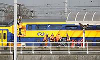 Nederland  Amsterdam   feb. 2021.  Werkzaamheden bij Centraal Station. Het station wordt de komende jaren grondig verbouwd.  Foto Berlinda van Dam / HH / ANP.