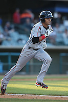 Donovan Tate (2) of the Lake Elsinore Storm runs the bases during a game against the Lancaster JetHawks at The Hanger on May 9, 2015 in Lancaster, California. Lancaster defeated Lake Elsinore, 3-1. (Larry Goren/Four Seam Images)