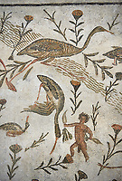 Picture of a Roman mosaics design depicting a Nile scene with birds and pigmies, from the ancient Roman city of Thysdrus, Bir Zid area. 2nd century AD, . El Djem Archaeological Museum, El Djem, Tunisia.