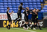 Oldham Athletic's Zak Dearnley (2nd right) celebrates scoring his side's second goal with his team mates<br /> <br /> Photographer Andrew Kearns/CameraSport<br /> <br /> The EFL Sky Bet League Two - Bolton Wanderers v Oldham Athletic - Saturday 17th October 2020 - University of Bolton Stadium - Bolton<br /> <br /> World Copyright © 2020 CameraSport. All rights reserved. 43 Linden Ave. Countesthorpe. Leicester. England. LE8 5PG - Tel: +44 (0) 116 277 4147 - admin@camerasport.com - www.camerasport.com