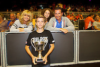 September 13, 2014, Netherlands, Amsterdam, Ziggo Dome, Davis Cup Netherlands-Croatia, Nat champ. 14 years Alec Deckers with his parents and sister<br /> Photo: Tennisimages/Henk Koster