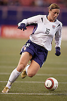 """Abby Wambach of the USA. The US Women's National Team tied the Denmark Women's National Team 1 to 1 during game 8 of the 10 game the """"Fan Celebration Tour"""" at Giant's Stadium, East Rutherford, NJ, on Wednesday, November 3, 2004.."""