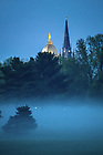 May 14, 2020; Dome and Basilica with a ground fog (Photo by Matt Cashore/University of Notre Dame)