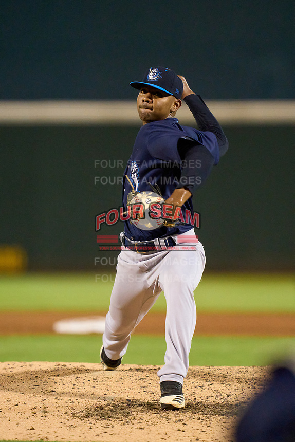 Tampa Tarpons pitcher Harold Cortijo (26) during Game Two of the Low-A Southeast Championship Series against the Bradenton Marauders on September 22, 2021 at LECOM Park in Bradenton, Florida.  (Mike Janes/Four Seam Images)