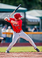 29 July 2018: Batavia Muckdogs infielder Luke Jarvis at bat against the Vermont Lake Monsters at Centennial Field in Burlington, Vermont. The Lake Monsters defeated the Muckdogs 4-1 in NY Penn League action. Mandatory Credit: Ed Wolfstein Photo *** RAW (NEF) Image File Available ***