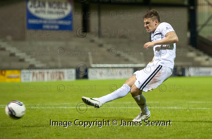 Raith Rovers' Ross Callachan misses from the spot.