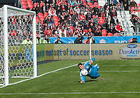 31 March 2011: Columbus Crew goalkeeper Andy Gruenebaum #30 in action during a game between the Columbus Crew and the Toronto FC at BMO Field in Toronto, Ontario Canada..The Columbus Crew won 1-0.