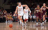STANFORD, CA - January 8, 2011: Jeanette Pohlen of the Stanford Cardinal women's basketball team on a fast break during Stanford's game against Arizona State at Maples Pavilion. Stanford won 82-35.