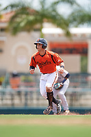 GCL Orioles left fielder Max Hogan (15) leads off during a game against the GCL Rays on July 21, 2017 at Ed Smith Stadium in Sarasota, Florida.  GCL Orioles defeated the GCL Rays 9-0.  (Mike Janes/Four Seam Images)