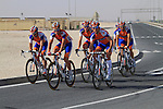 Rabobank team warms up before the 2nd Stage of the 2012 Tour of Qatar a team time trial at Lusail Circuit, Doha, Qatar, 6th February 2012 (Photo Eoin Clarke/Newsfile)