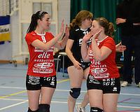 Volley Team Brugge : Evi Ulens (links) en Lien Saerens (r)<br /> foto VDB / BART VANDENBROUCKE
