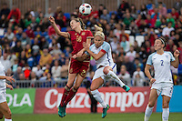 Spain's Irene Paredes England's Steph Houghton during the frendly match between woman teams of  Spain and England at Fernando Escartin Stadium in Guadalajara, Spain. October 25, 2016. (ALTERPHOTOS/Rodrigo Jimenez) /NORTEPHOTO.COM