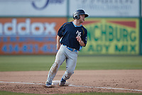Jacob Wetzel (55) of the Myrtle Beach Pelicans stops at third base during the game against the Lynchburg Hillcats at Bank of the James Stadium on May 23, 2021 in Lynchburg, Virginia. (Brian Westerholt/Four Seam Images)