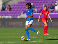 ORLANDO, FL - FEBRUARY 24: Bruna #3 of Brazil passes the ball during a game between Brazil and Canada at Exploria Stadium on February 24, 2021 in Orlando, Florida.
