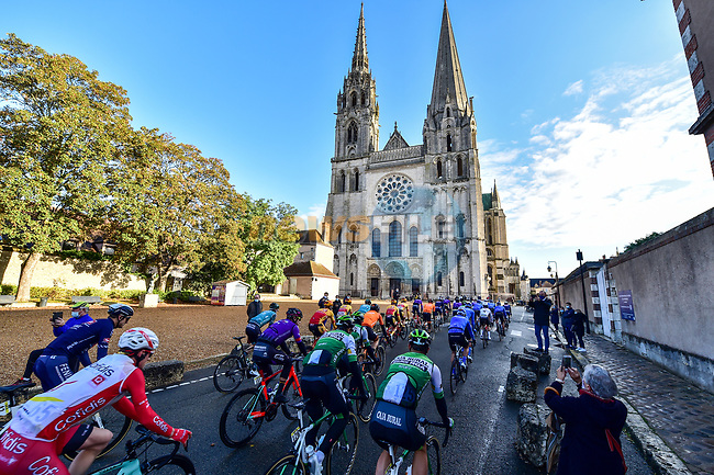The peloton pass by the Chartres Cathedral to start Paris-Tours 2020, running 213km from Chartres to Tours, France. 11th October 2020.<br /> Picture: ASO/Gautier Demouveaux | Cyclefile<br /> All photos usage must carry mandatory copyright credit (© Cyclefile | ASO/Gautier Demouveaux)