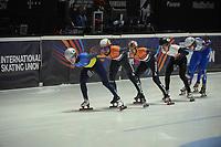 SPEEDSKATING: DORDRECHT: 05-03-2021, ISU World Short Track Speedskating Championships, QF 1500m Men, Oleh Handei (UKR), Sjinkie Knegt (NED), Itzhak de Laat (NED), Reinis Berzins (LAT), Konstantin Ivliev (RSU), ©photo Martin de Jong