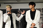 Kim Jae-Ho and Song Kyung-Il (HISTORY), Aug 26, 2015 : South Korean pop group HISTORY attends the promotional event in Tokyo, Japan on August 26, 2015. (Photo by AFLO)