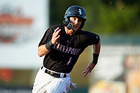 Tyler Frost (1) of the Kannapolis Intimidators hustles towards third base against the Lakewood BlueClaws at Kannapolis Intimidators Stadium on July 7, 2018 in Kannapolis, North Carolina. The Intimidators defeated the BlueClaws 4-3 in 10 innings.  (Brian Westerholt/Four Seam Images)