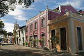 Ilheus, Bahia State, Brazil. Colonial style buildings in pastel colours.