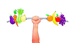 Illustrative image of hand lifting barbell with vegetables and fruits representing healthy lifestyle