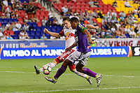Harrison, NJ - Wednesday Aug. 03, 2016: Alex Muyl, Miguel Galindo during a CONCACAF Champions League match between the New York Red Bulls and Antigua at Red Bull Arena.