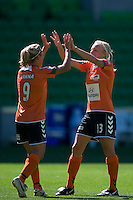 MELBOURNE, AUSTRALIA - DECEMBER 4: Lisa de Vanna and Tameka Butt of the Roar celebrate a goal in round 5 of the Westfield W-league match between Melbourne Victory and Brisbane Roar on 4 December 2010 at AAMI Park in Melbourne, Australia. (Photo Sydney Low / asteriskimages.com)