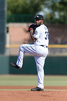 Peoria Javelinas relief pitcher Miguel Diaz (36), of the San Diego Padres organization, delivers a pitch during the Arizona Fall League Championship game against the Salt River Rafters at Scottsdale Stadium on November 17, 2018 in Scottsdale, Arizona. Peoria defeated Salt River 3-2 in 10 innings. (Zachary Lucy/Four Seam Images)