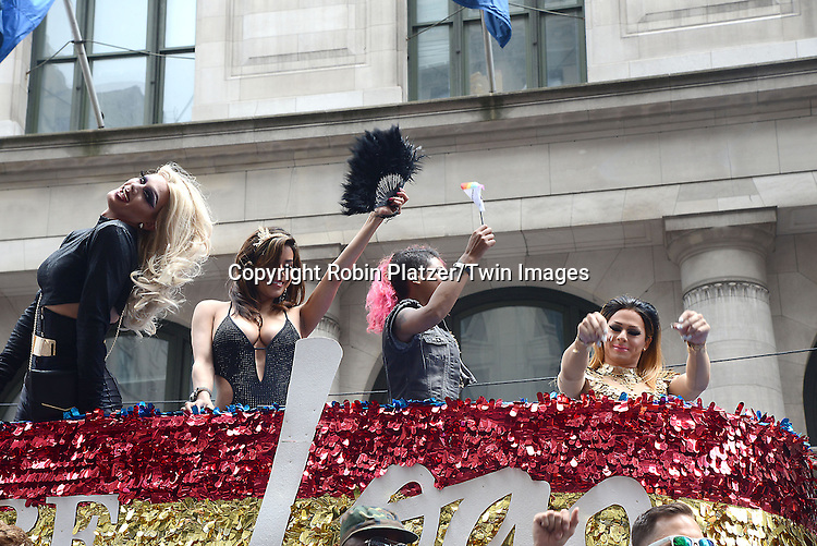 LOGO Float with people from RuPaul's Drag Race attend the 2015 NYC Pride March on June 28, 2015 on Fifth Avenue in New York City. <br /> <br /> photo by Robin Platzer/Twin Images<br />  <br /> phone number 212-935-0770