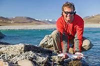 Fishing for Arctic char along the Kongakut River, Brooks Range mountains, Arctic National Wildlife Refuge, Alaska