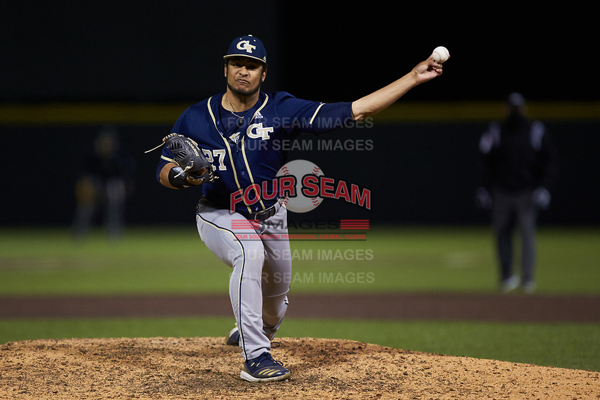 Georgia Tech Yellow Jackets relief pitcher Luke Bartnicki (27) in action against the Virginia Tech Hokies at English Field on April 16, 2021 in Blacksburg, Virginia. (Brian Westerholt/Four Seam Images)