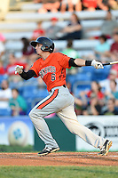 Aberdeen IronBirds outfielder Federico Castagnini (6) at bat during a game against the Williamsport Crosscutters on August 4, 2014 at Bowman Field in Williamsport, Pennsylvania.  Aberdeen defeated Williamsport 6-3.  (Mike Janes/Four Seam Images)