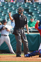 Umpire David Soucy makes a call during a game between the Scranton/Wilkes-Barre RailRiders and Buffalo Bisons on June 10, 2015 at Coca-Cola Field in Buffalo, New York.  Scranton/Wilkes-Barre defeated Buffalo 7-2.  (Mike Janes/Four Seam Images)