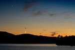 Burnt Jacket Point at sunset and moonrise, Moosehead Lake, ME.